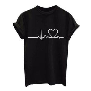 Tops - Heart rhythm/Love Printed short sleeve Top